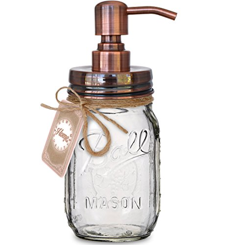 Ball Vintage Antique - My Fancy Farmhouse Mason Jar Soap or Lotion Dispenser with Iconic Vintage Ball Clear Glass Jar, 100% Rust Proof, 304 18/8 Stainless Steel, 16 Ounce (Copper Color)