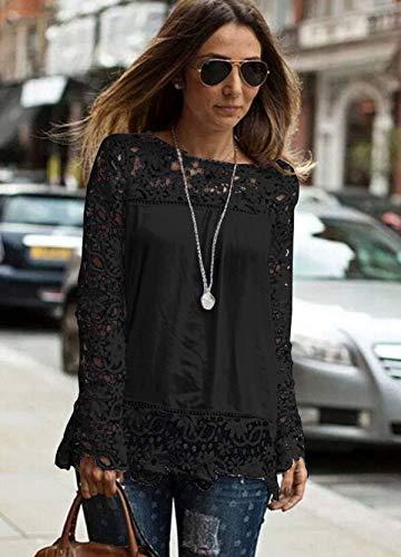 XS Pull Dentelle Manche Sweat Chemise 6XL Automne Taille Femme Grande Noir Haut Cocrao Shirt Longue Printemps Ajour Mousseline qRSFZvx