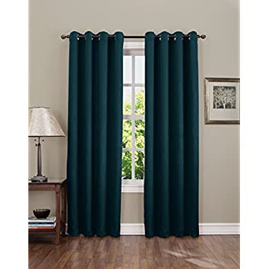 Sun Zero Leighton Crushed Energy Efficient Grommet Panel, 50 X 84 Inch, Teal