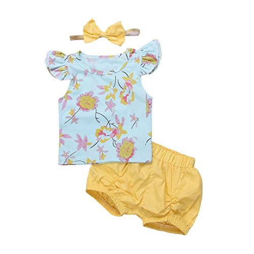 Baywell Baby Girls Clothes Outfit Set, Floral Printing Flying Sleeve Tops + Shorts + Bow-Knot Headband 3 Pcs (M/12-18M/90, Blue)
