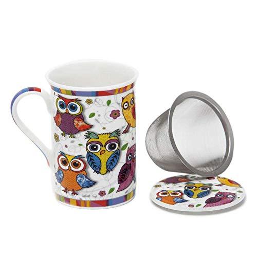 Aromas de Te - Taza de Te con Filtro y Tapa/Tisana Infusiones y tes de Ceramica con Infusor de Acero, Diseno Buhos