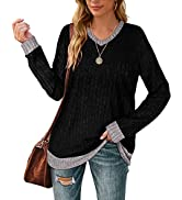 Aokosor Long Sleeve Shirts for Leggings V Neck Lightweight Sweaters Soft Fashion Color Block