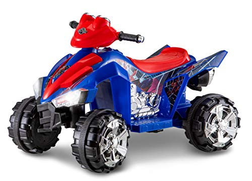 Kid Trax Marvel's Spider-Man ATV Ride-On Toy for Kids & Children Ages 3-5 Years Old, Featuring Working Led Headlights, Horn & Engine Sounds, & Foot Pedal Acceleration with 6V Motor, Red/Blue