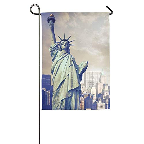 HUVATT Statue of Liberty with New York Skyline Garden Flag Indoor & Outdoor Decorative Flags for Parade Sports Game Family Party Wall Banner 12 x 18 inch
