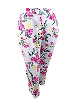I.N.C. International Concepts Women's Plus Size Printed Cropped Pants (White Tulip Bundle, 14W)