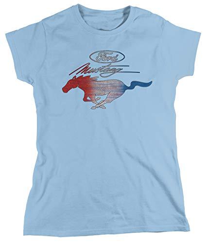Amdesco Women's Ford Mustang Officially Licensed T-Shirt, Light Blue Large
