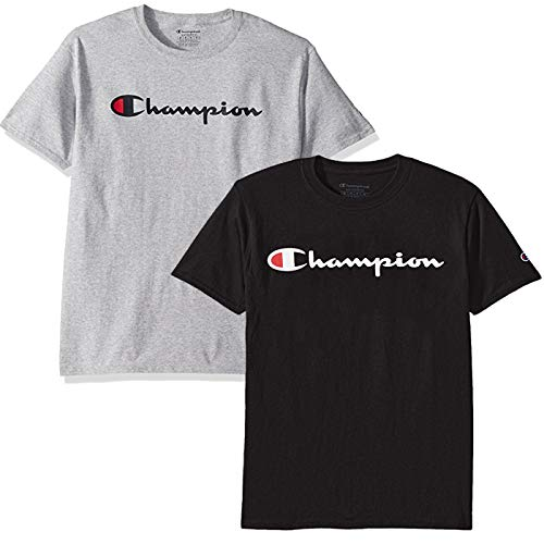 Champion Men's Classic Jersey Script T Shirt -3 Piece Bundle Includes 2 Shirts and Free BE Bold Gym Tote Bag by Genie Outlet (Black and Grey, Medium)