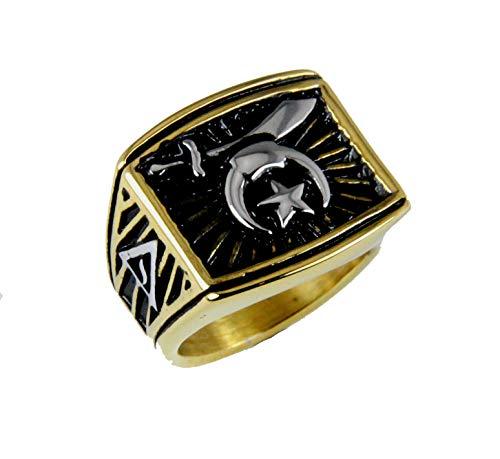 The Quiet Witness T65 Stainless Steel Shriner Ring 14 Degree Mason Shrine Noble Scimitar Moon & Star 14th Freemason -