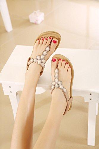 Sandales Fortuning's Femmes Chaussures Plates Chaussures de des Strings Antidérapants Plage Mode abricot JDS® Dernière rrqzxX85