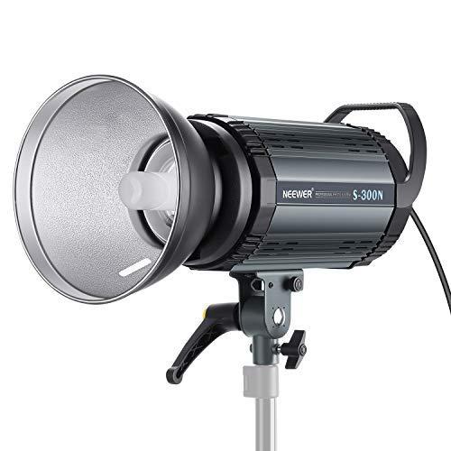 (Neewer S300N Professional Studio Monolight Strobe Flash Light-300W 5600K with Modeling Lamp,Aluminium Alloy Professional Speedlite for Indoor Studio Location Model Photography and Portrait Photography)