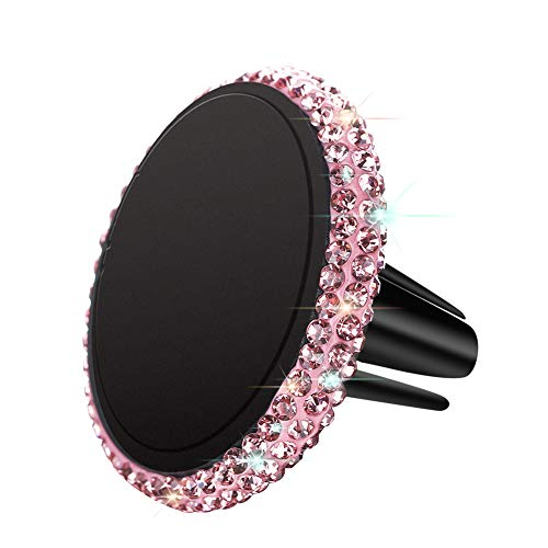 (SAVORI Magnetic Car Mount Holder, Universal Bling Bling Rhinestones Crystal Universal Air Vent Car Phone Holder for Dashboard Cell Phone Cradle Mount for Samsung Galaxy, iPhone X and More (Pink))