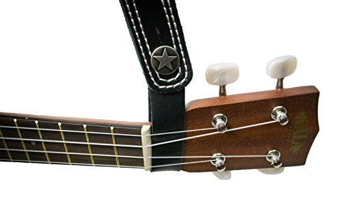 Leather Acoustic Guitar Strap Button - Assorted Colors - Single Strap (Tan with Gold Button) - by Cavalry Straps
