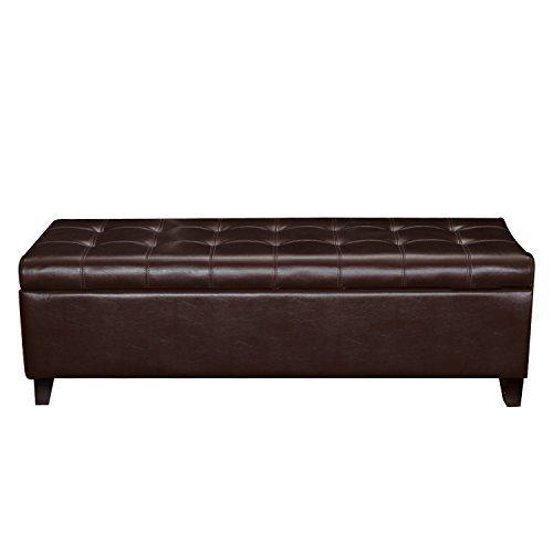 ELEGAN Accents Rectangular Tufted Storage Leather Ottoman Bench Chair with Wooden 4 Legs (Rectangular Vinyl Ottoman)