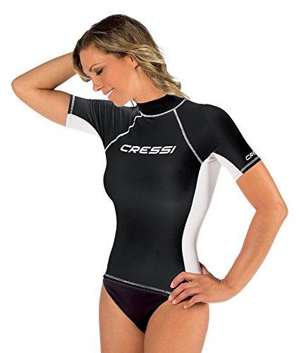 Tessuto 50 Donna Uv Rash Guard Protettiva upf In Protezione Speciale Maniche Nero Elastico Cressi Maglia bianco Solare Corte HqAzwwZ