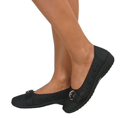 Me ideal comodidad Casual traje de neopreno para mujer diseño de bailarina con Dolly pantallas planas o espacios de trabajo cubiertos de zapatos de Ballet bombas de lazo blanco en relieve Negro - Black Buckle Faux Leather