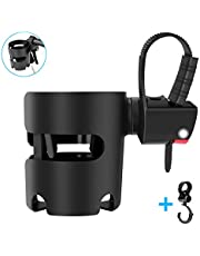 Stroller Cup Holder, Universal Pushchair/Pram Cup Holder, 360°Adjustable Bottle Organizer for Stroller, Drink and Coffee Cup Holder with 1 Hooks, Suitable for Baby Buggy and Bike (Black) New Version