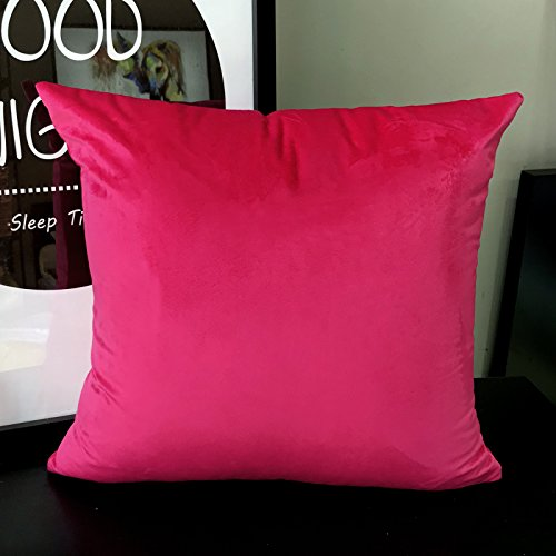 Red Sofa Set Microfiber (LANSA Microfiber Velvet Throw Pillow Covers Decorative Pillowcases Cushion Cover Soft & Smooth Solid Various Choices 22 Colors (Red-R9, 16 x 16 (1 Piece)))