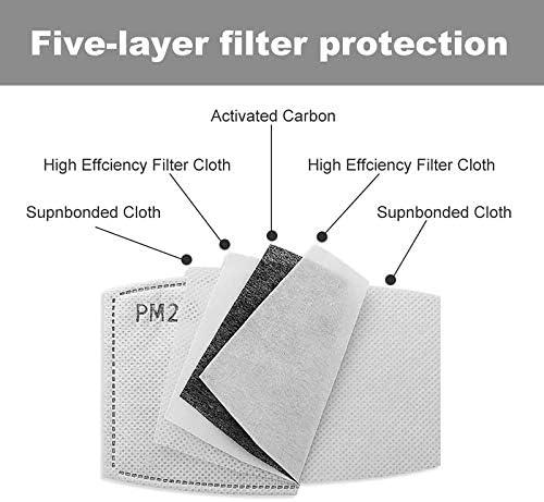 National Parks Badges Face Mask with 16 Replaceable Air Filters Reusable Washable Cloth Bandana Scarf Women Men Kids Black Neck Gaiters Designer Print Shield