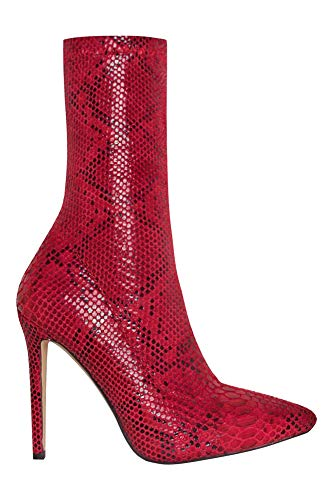 OLCHEE Women's Sexy Pointed Toe Sock Boots - Stiletto High Heel Ankle Booties - Red Snake Print Lycra Size 9 ()