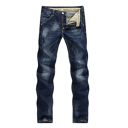 Classic Direct Stretch Dark Blue Business Casual Denim Pants Slim Scratched Long Trousers Gentleman Cowboys 38 by Ivan Johns Pants