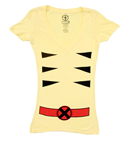 [Marvel X-men Wolverine V-neck Juniors Yellow Costume T-shirt (Juniors Large)] (Women X Men Costumes)