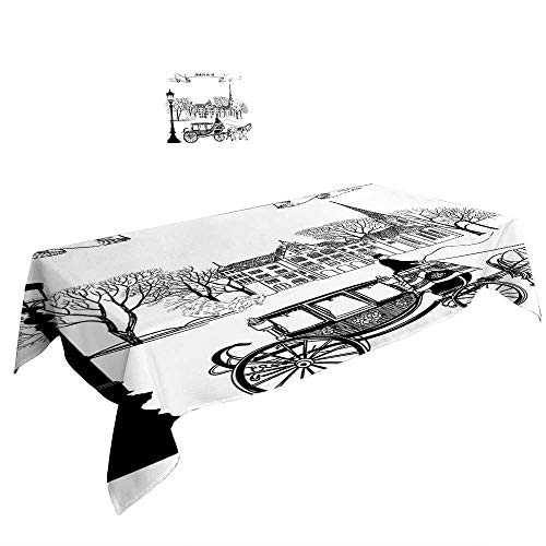 Street Scene Decor (Warm Family White ectangular Table Cloth Old Street Scene A Carriage Horse from Twenties Historical Northern Europe Decor Black White. duitable All Occasions, W29.5 x L69)