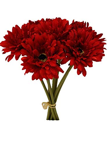 Sweet Home Deco 13'' Silk Artificial Gerbera Daisy Flower Bunch (W/ 7stems, 7 Flower Heads) Home/Wedding (Red)