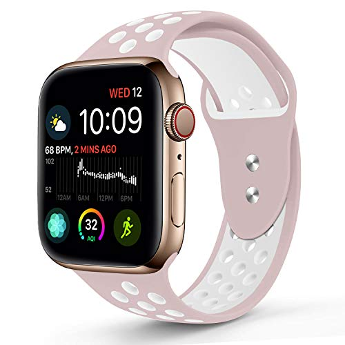 Compatible for Apple Watch 38MM 42MM,RUOQINI Dual-color Soft Silicone Sport Replacement Band Compatible for Apple Watch Series 3, Series 2, Series 1 S/M M/L Size