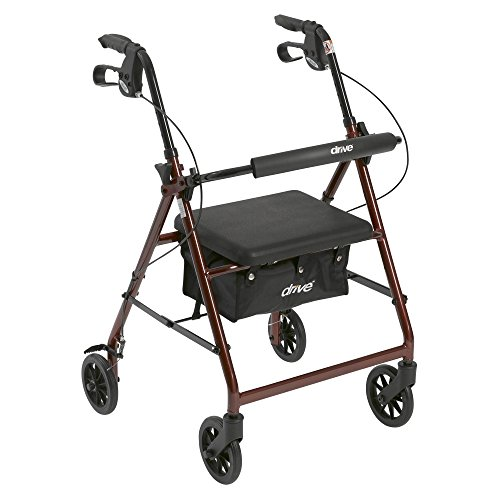 R726RD - Walker Rollator with 6 Wheels, Fold Up Removable Back Support and Padded Seat, Red