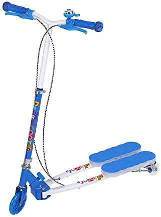 折りたたみ式キックスクーター、音楽とフリッカスクーター三輪キックスクーターLEDライトアップやプロテクターデュアルブレーキペダル折り畳み式の調節可能な子供は子供のためのスクーターボードキック 高さ調節可能