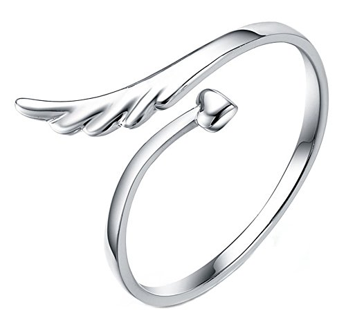 buyinheart@ Fashion Silver Plated Open Mouth Animal Heart Wing Design Finger Tail Ring Fit Gift - Ring Finger Designs