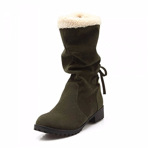RFF-Women's Shoes The winter after Ms. Tie Cotton boots and cashmere thermal size student boots Green bWZvUEg