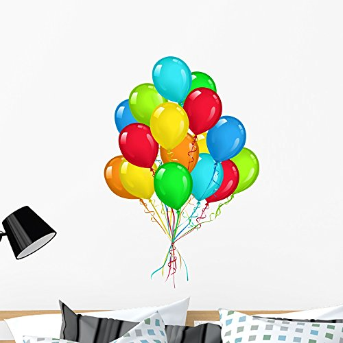 Wallmonkeys Balloons Bouquet Wall Decal Peel and Stick Graphic WM133417 (36 in H x 28 in W)