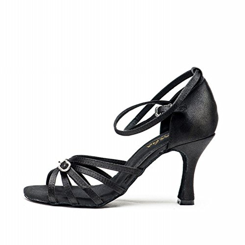Satin Modern Shoes Shoes Onecolor Adult Jazz Black Samba Latin Dance Shoes with Strap Dance Ankle Leather Ballroom Sandals Dance BYLE Female SwPnXZqpBW