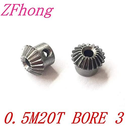 Ochoos 1 Pair 0.5m20t Steel Bevel Gear 20 Teeth 0.5 Modulus Ratio 1:1 Bore 3mm Steel Right Angle Transmission Parts Machine Parts DIY ()