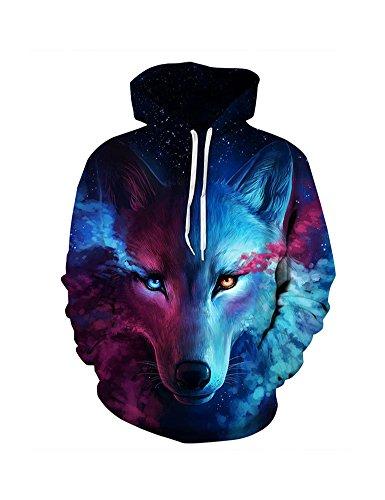 HSRKED 3d Hoodies Men Wolf Hoodie Sweatshirt Men's Skateboarding Hoodie Oversized Streetwear-Glum Wolf-XL