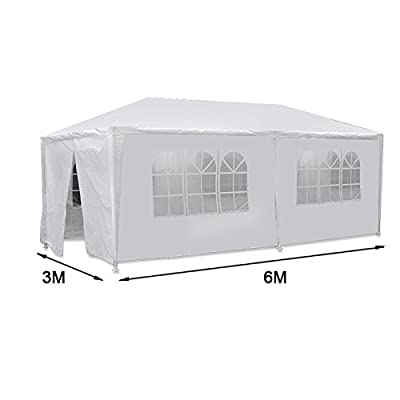 ZenStyle 10' x 20' White Outdoor Gazebo Canopy Tent Waterproof Wedding Party Events Pavilion Carport with 6 Removable Enclosure Sidewalls and Windows : Garden & Outdoor