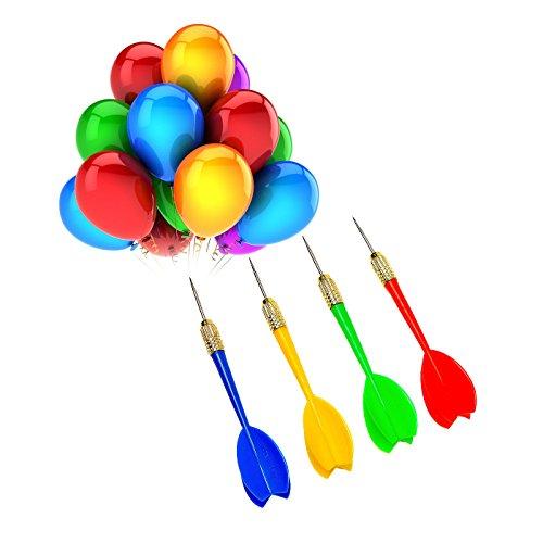 NOVSIX 24 Pack Steel Tip Plastic Brass Carnival Balloon Darts