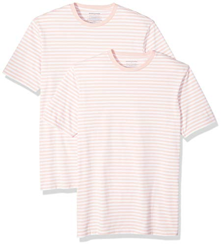 Amazon Essentials Men's Slim-Fit Short-Sleeve Stripe Crewneck T-Shirts, Pink/White, Medium ()