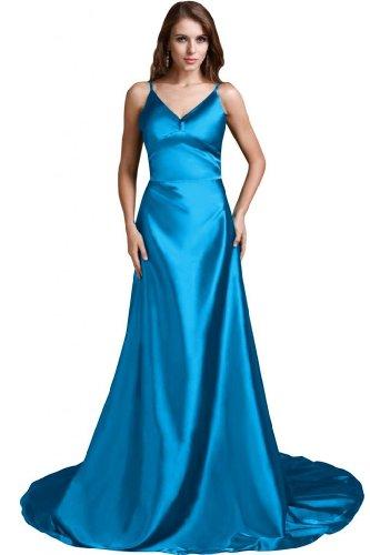 linea una Celebrity spalline sera Spaghetti Dress Blu lungo abito Sunvary da 1wqF5a1