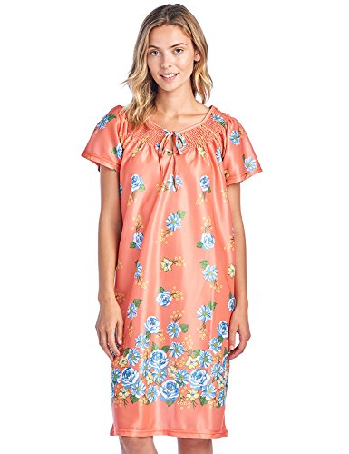 (Casual Nights Women's Round Neck Mu-Mu Housecoat Lounger - Coral - Large)