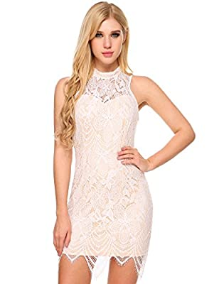 ANGVNS Women's Summer Halter Neck Backless Vintage Short Cocktail Party Lace Dress