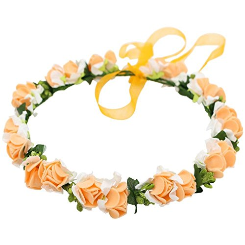 JustVH Exquisite Flower Crown Flower Headband Bridal Wreath with Adjustable Ribbon Orange