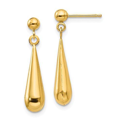 - 14k Yellow Gold Teardrop Drop Dangle Chandelier Post Stud Earrings Fine Jewelry Gifts For Women For Her