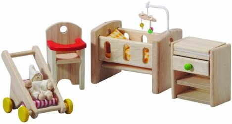 PlanToys Wooden Classic Line of Dollhouse Furniture - Nursery with Baby (7329) / Sustainably Made from Rubberwood and Non-Toxic Paints and Dyes