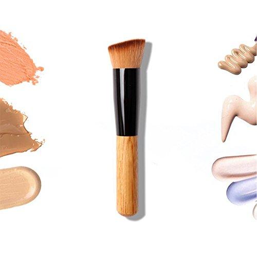 Plat coudé Fond de teint poudre Brosse à manche en bois Blush Contour Maquillage Accessoires Cosmétique VOOYE