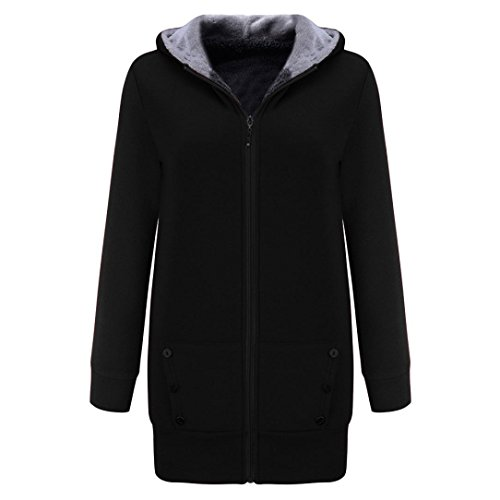 Sunfei Women Winter Warm Velvet Thicker Coat Hoodie Jacket Outwear Sweatshirt Overcoat (M, Black) by Sunfei