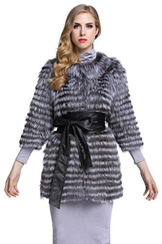 TOPFUR Women's Silver Fox Fur Coat Cross Grain Outwear Winter Overcoat(US 20) by TOPFUR