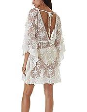 L-Peach Rymlig spetsskjorta för kvinnor badkläder pareos strandklänning tunika cover ups