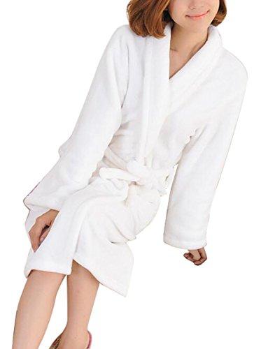 Robe Flannel White (ARTFFEL-Women Fleece Flannel Kimono Belted Bathrobe Sleepwear Nightgown White M)